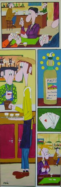 B.D. bistrot acryl toile 40x120