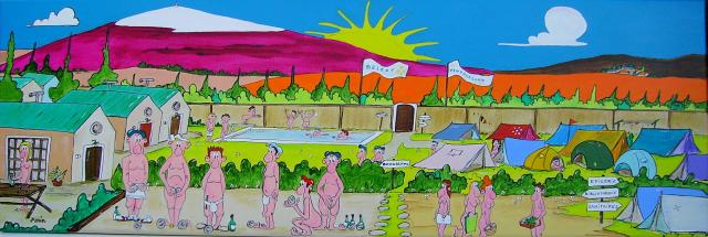 Camping naturiste  acryl. sur toile  90x30.jpeg